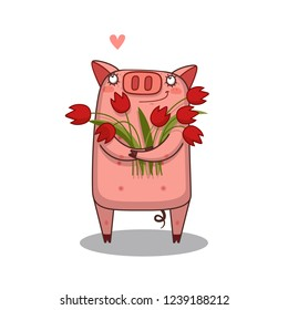 Little Pig with a bunch of flowers