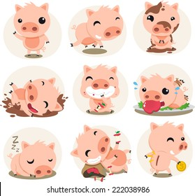 Little Pig cartoon action set, in different situations like waving, running, playing in the mud, smiling, pig eating an apple, sleeping vector illustration.