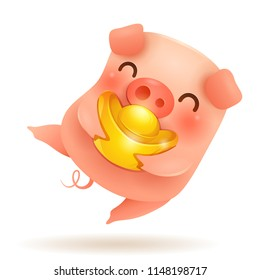 Little Pig with Chinese gold - Ingot. Chinese New Year. The year of the pig.