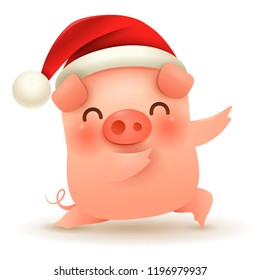 Little Pig with Christmas Santa's Red Cap. Happy New Year.