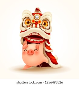 Little Pig performs Chinese New Year Lion Dance. Isolated.