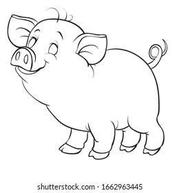 little piggy in contour, isolated object on a white background, for coloring,