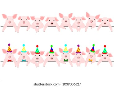 little pigs border set, with and without party hats