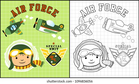 LIttle pilot with planes, coloring book or page, vector cartoon illustration