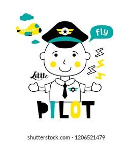 little pilot/profession funny cartoon,vector illustration