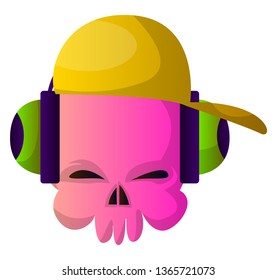 Little pink cartoon skul with hat and headphones vector illustartion on white background
