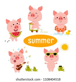 Little Pink Piggy Different Emotions And Situations. Set Of Cute Emoji Illustrations in different season: winter, summer, autumn, spring