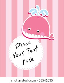 little pink whale greeting