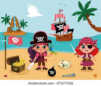 Little Pirate Girls (Vector Illustration)