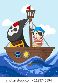 Little pirate with his ship