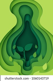 Little plant in green leaf paper layer cut abstract nature background.Ecology and environment conservation concept design paper art style.Vector illustration.