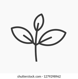 Little plant leaves line icon. Vector illustration.