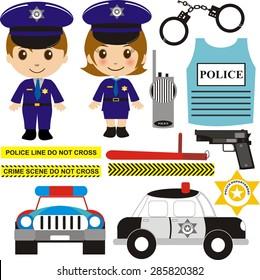 Little police officer vector illustration