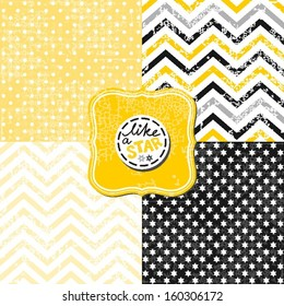 little polka dots stars and chevron black white yellow gray geometric crackle backgrounds set with vintage frames