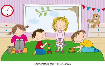 Little preschool children in kindergarten, building bricks, playing with toys, drawing pictures - original hand drawn illustration
