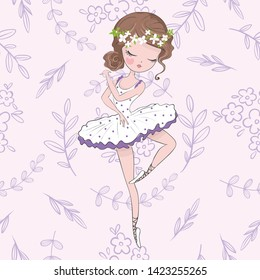 little pretty ballerina vector illustration