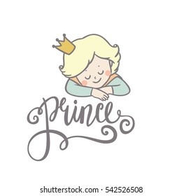 Little prince. Beautiful greeting card in vector