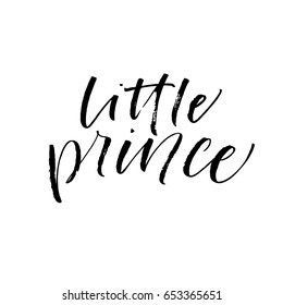 Little prince card.Ink illustration. Modern brush calligraphy. Isolated on white background.