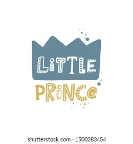 Little prince colored lettering with crown. Baby vector stylized typography. Kids print. Hand drawn phrase poster, banner, sticker design element for nursery