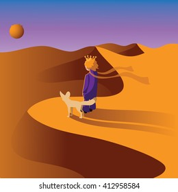 Little prince with a Fennec fox in the desert. EPS 10 vector.