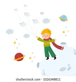 Little Prince flying with birds. Nursery poster or print for baby room, book cover, shower card. Illustration with space elements. Little Prince tale.