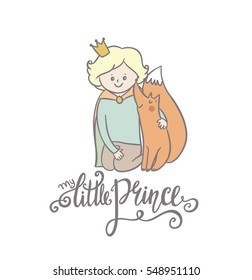 Little prince and fox. Beautiful greeting card in vector