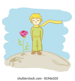 little prince and his rose vector illustration