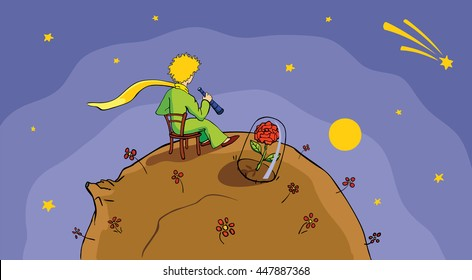 The little Prince looking at the stars