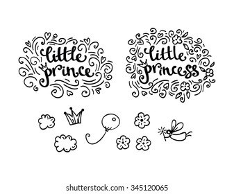 Little prince and little princess greeting card and logo elements