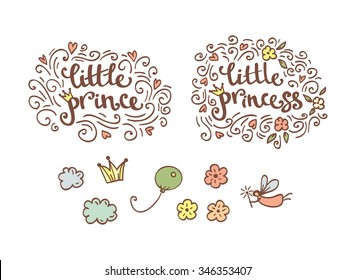 Little prince and princess logo elements and stickers in vector