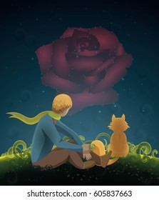 The Little prince, the rose and the fox. Vector illustration