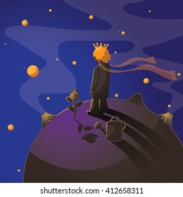Little prince with a rose standing on an asteroid. EPS 10 vector.