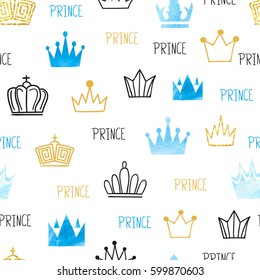 Little prince seamless pattern in blue and golden colors. Vector background with watercolor and glittering crowns