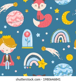 Little prince seamless pattern. Boy with Fox, rose, planets and stars. Vector illustration in simple hand-drawn cartoon style. The pastel palette is ideal for printing baby clothes, textiles