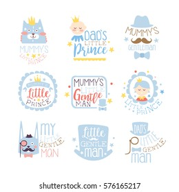 Little Prince Set Of Prints For Infant Boy Room Or Clothing Design Templates In Pink And Blue Color. Vector Labels With Quotes Series Of Childish Posters For Toddler.