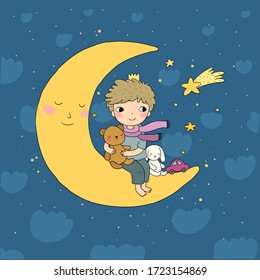 The little prince is sitting on the moon. Cute cartoon kid with toys. A boy with a teddy bear and a bunny. Time to sleep.