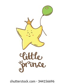 Little prince. Little star. Beautiful greeting card and logo elements in vector