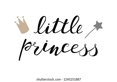 Little princess baby lettering quote for onesie design, clothes, kids poster, t-shirt. Lettering photography family overlay . Hand written sign. Baby photo album element. Vector illustratrion.