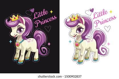 Little princess. Cartoon pretty pony with purple hair. Beautiful girlish print for t-shirt design.