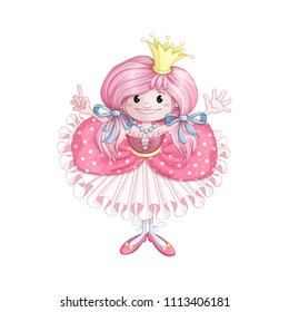 A little princess with a crown on pink hair, in a pink ball gown with frills shows her fingers that she is six years old. Children's vector cartoon character for celebrating the birthday. Isolate.