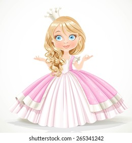 Little princess in crown wearing in magnificent dress isolated on a white background