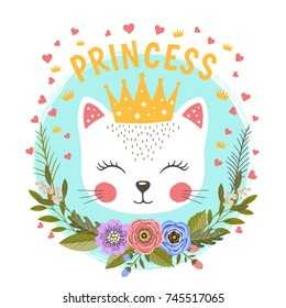 Little Princess with flowers. Cute cat girl with crown. Vector illustration for print