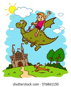 Little princess is flying on a dragon. Fairy tale