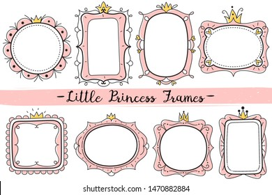 Little princess frames. Pink cute mirrors frame, baby girl birthday party invitation card with hand drawn crown. Vector elegant kid decor and romantic gold round royal shower photo template