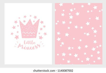 Little Princess. Hand Drawn Baby Shower Vector Illustration for Card, Invitation, Textile, Wrapping Paper.Pink Crown, Stars and Letters on a White Backround. White Stars Pattern on a Pink Background.