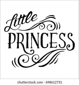 Little Princess lettering design.Feminine calligraphy.Vector illustration for girl clothes,poster,art.