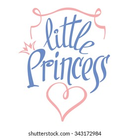 Little Princess lettering for girl t-shirt design. Crown typography, fashion textile, vector illustration