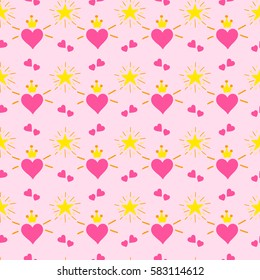 Little princess pattern vector. Print hearts with wings and crown. Cute girl background for birthday card, baby shower invitation, children wallpaper, baby clothing or girls dress fabric.