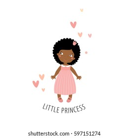 Little princess in a pink dress. Vector little girl. Cute face. Child. doll. African American girl