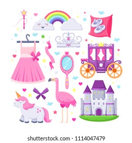 Little princess pink icons set. Vector illustration of unicorn, castle, crown, flamingo, girls dress, rainbow and carriage.